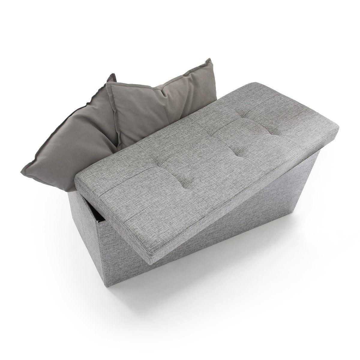Relaxdays Sitzbank mit Stauraum Leinen faltbar 76x38x38cm stabil Sitztruhe Sitzhocker grau
