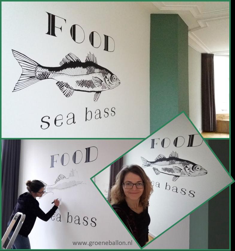 Vis met tekst | Food Sea Bass | muurschildering | woonkamer ...