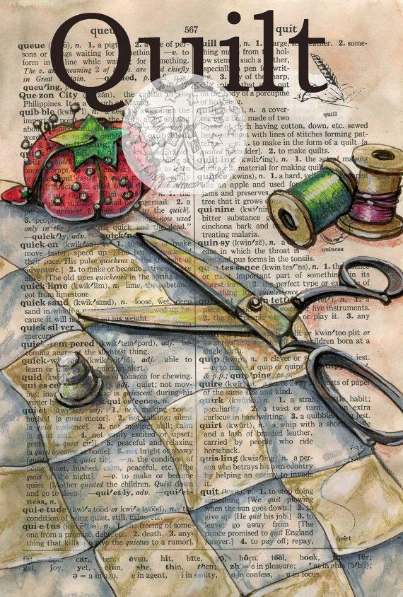 Imprimir Acolchado Dibujo De Medios Mixtos En Apuros Pagina De Diccionario Libro De Artista Arte Con Papel De Periodico Y Cuadernos De Bocetos