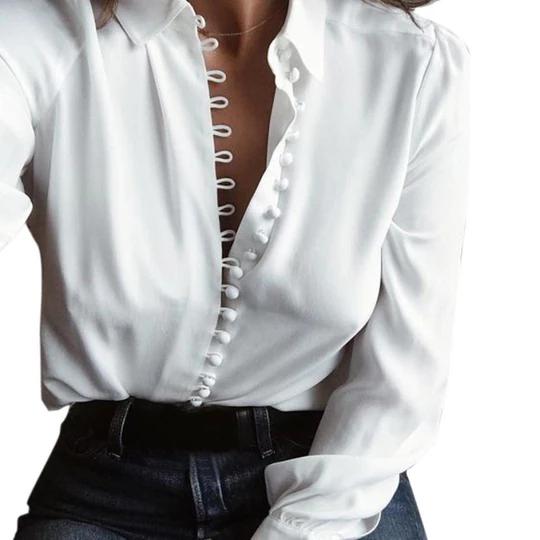 Women Lapel Shirt blouse Solid Long Sleeve Blouse shirt women Turn-down Collarrricdress 3