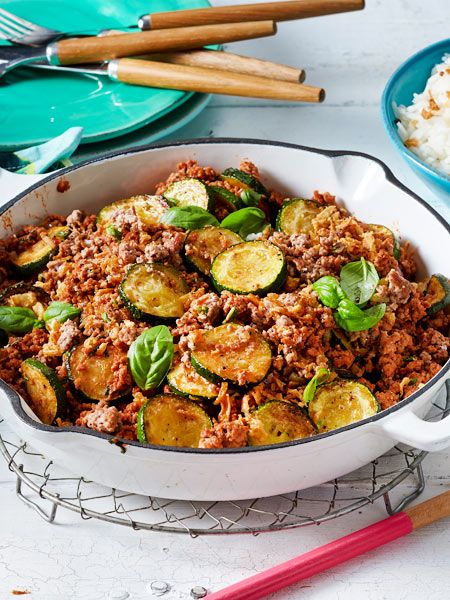 Zucchini-Hack-Pfanne #groundbeefrecipes