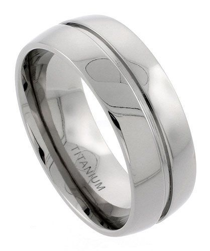 Titanium 9mm Wedding Band Ring Polished finish Grooved Center Comfort-fit, sizes 7 to 14 Sabrina Silver. $12.24