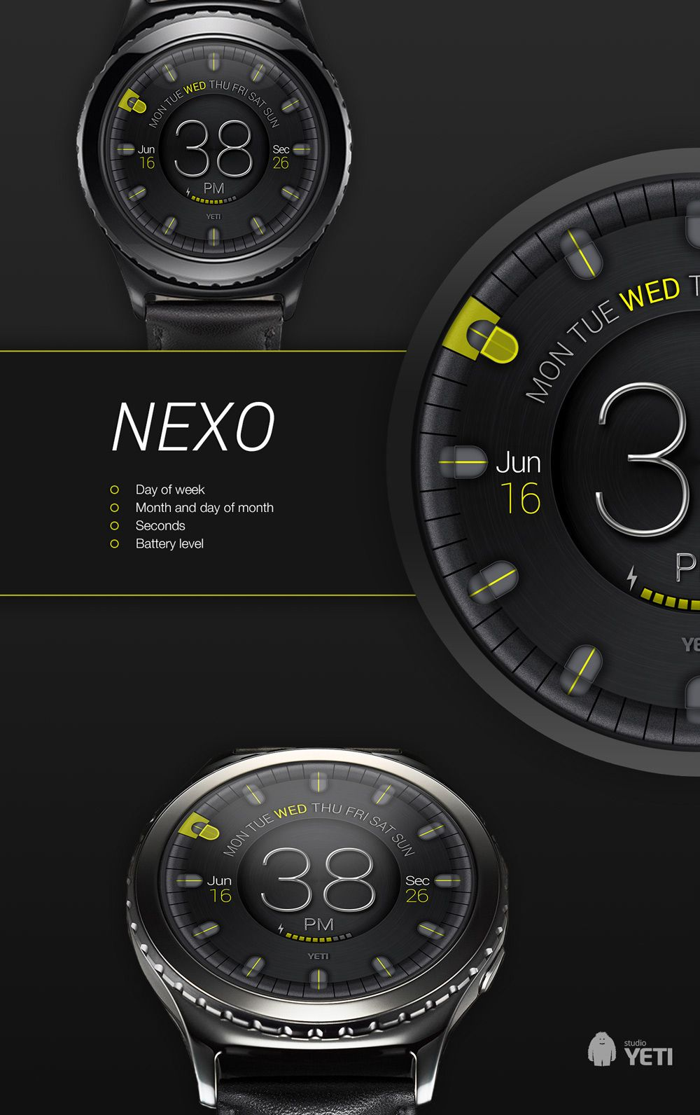 Nexo Watch Face On Behance Digital Watch Face Watch Faces Watches For Men