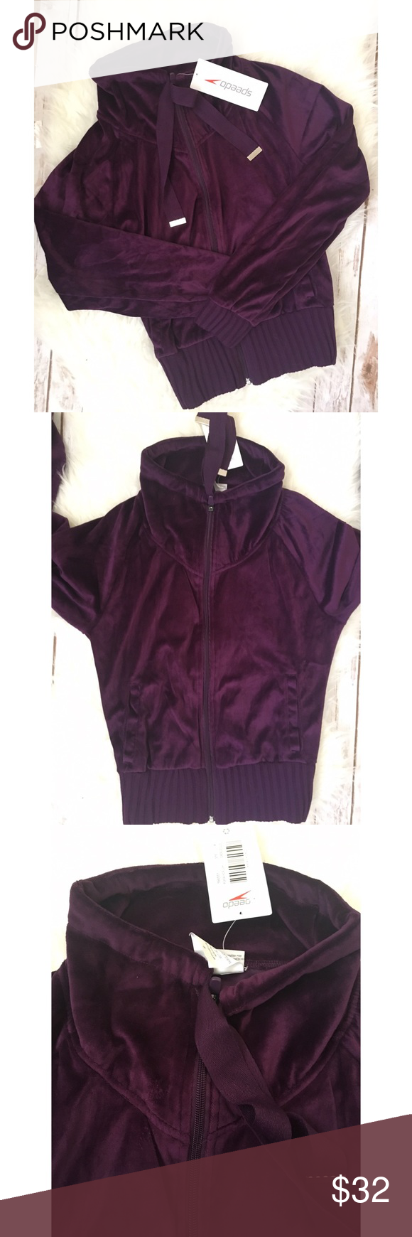 NWT women's Speedo purple velour track jacket Brand new with tags women's plum purple velour full zip track jacket size small.  Slouchy collar. Really nice lululemon athletica Tops Sweatshirts & Hoodies