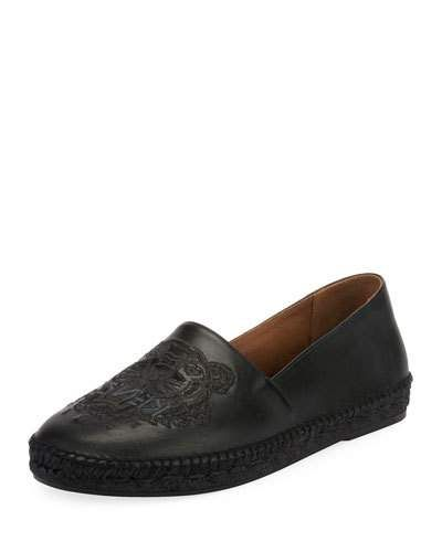 49c4557d Kenzo Men's Tiger-Stitched Leather Slip-On Espadrilles | Products ...