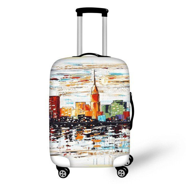 Eiffel Tower Flowers Travel Luggage Cover Stretchable Polyester Suitcase Protector Fits 18-20 Inches Luggage