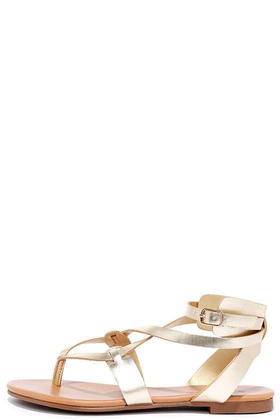 27a9b3029a7 Lulus - Lulus Boho Babe Champagne Gold Thong Sandals - AdoreWe.com ...