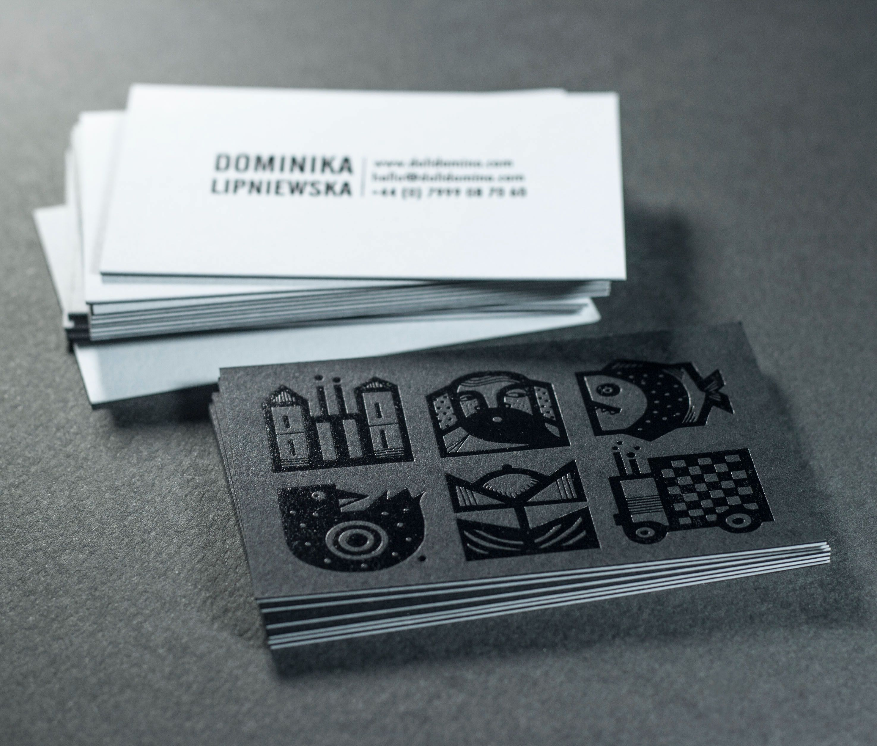 Business cards - Black foil blocking on blach paper stock. Dot ...