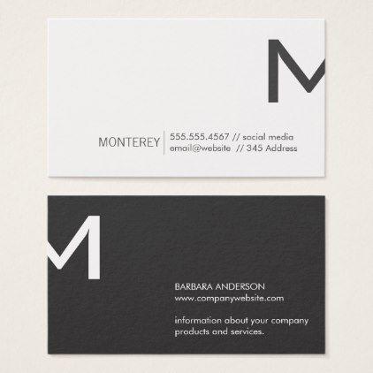 Corporate Monogram Split Dark Gray Business Card Zazzle Com Business Card Minimalist Corporate Business Card Professional Business Cards