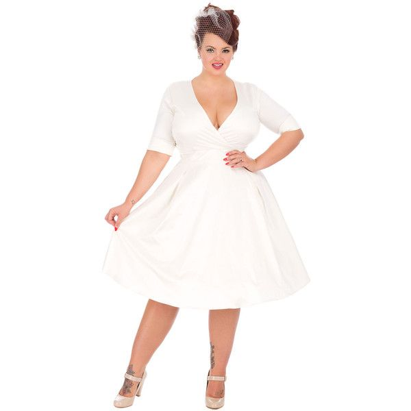 Special Order Plus Size Ivory Satin Stretch Sleeved Marilyn Swing ...