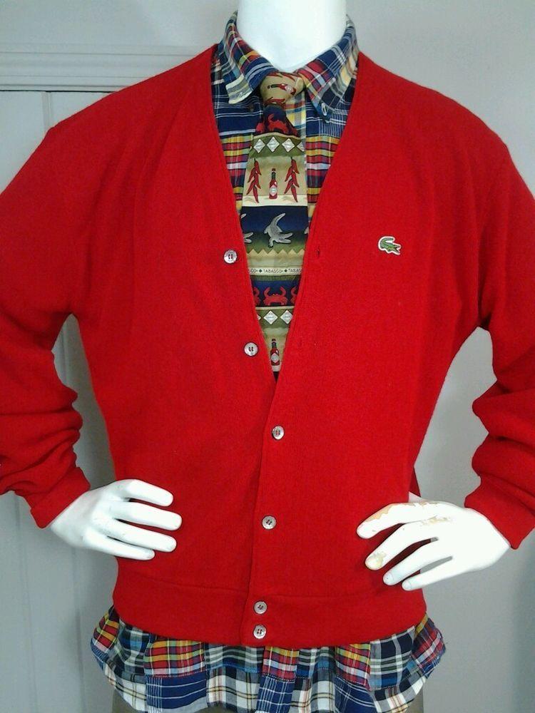 vintage izod lacoste alligator s cardigan sweater