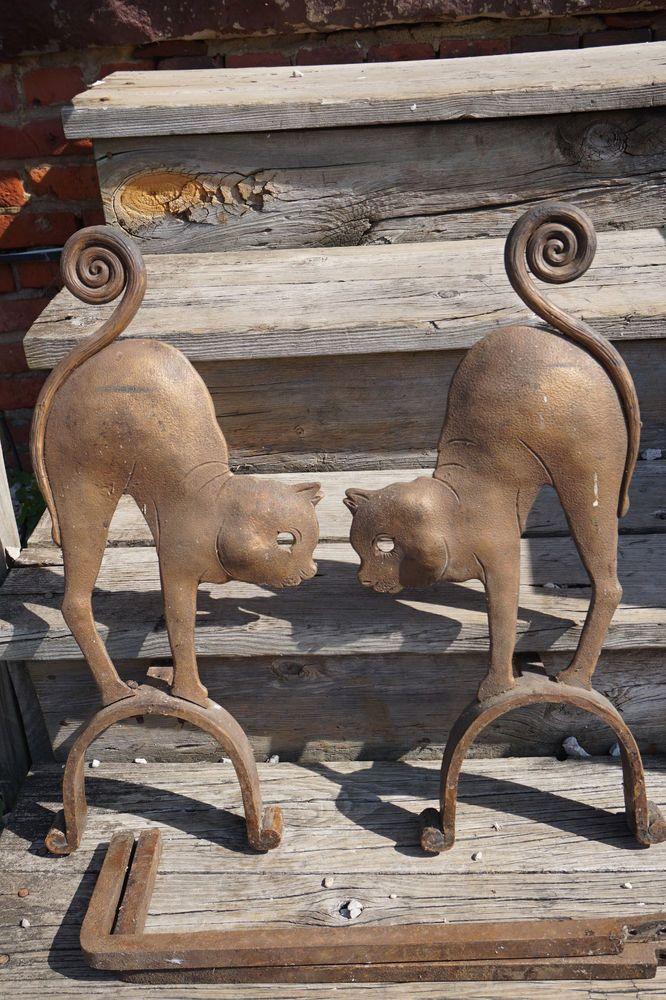 333 Antique Fireplace Andirons Cast Iron Cats Figural Firedog Set Old Original Arch Antique Fireplace Antique Cast Iron Fireplace Andirons