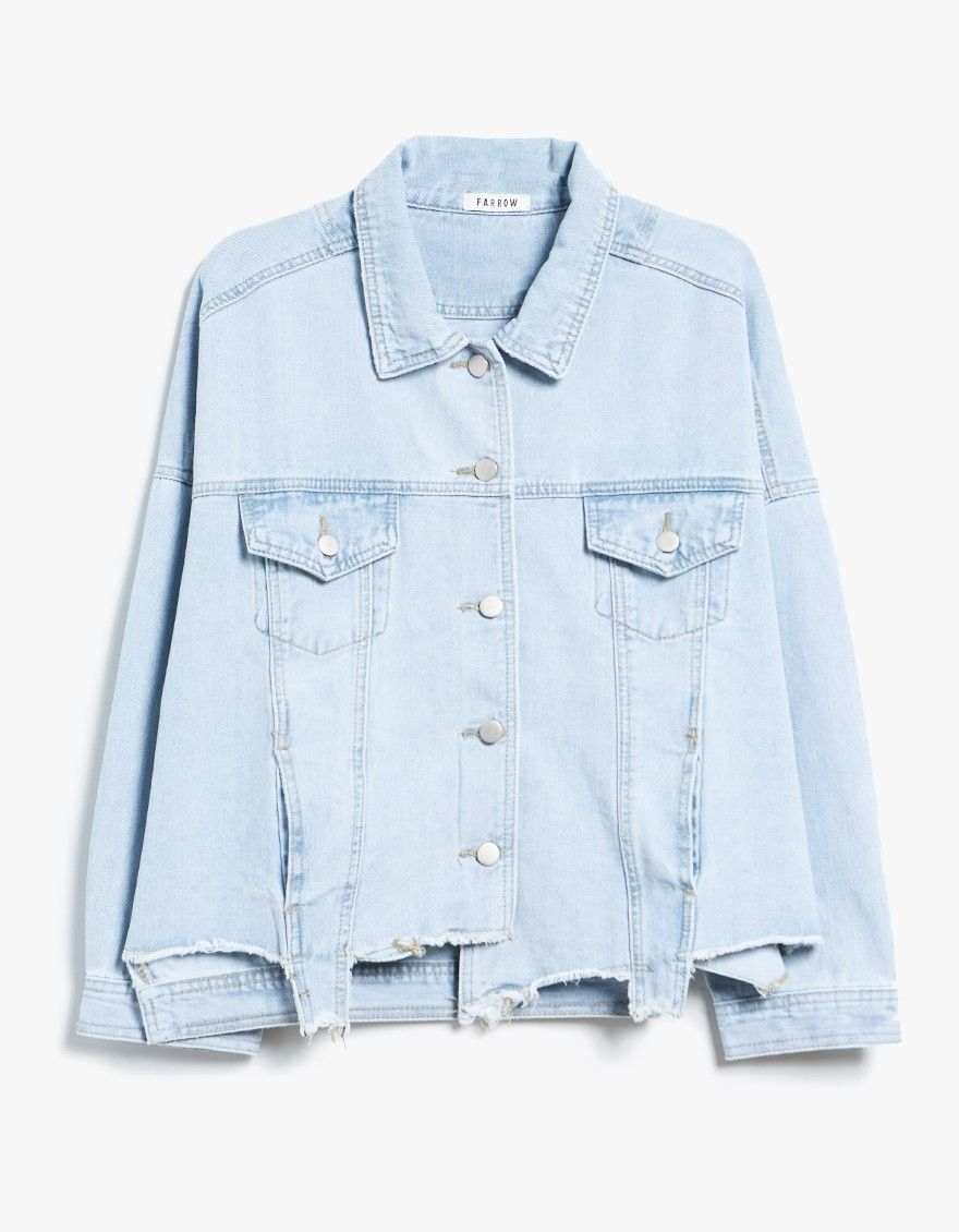 856d9571f7 Lightweight denim jacket from Farrow. Light wash. Pointed collar. Front  button closure. Dual chest pocket. Straight back yoke. Dropped shoulders.  Long ...