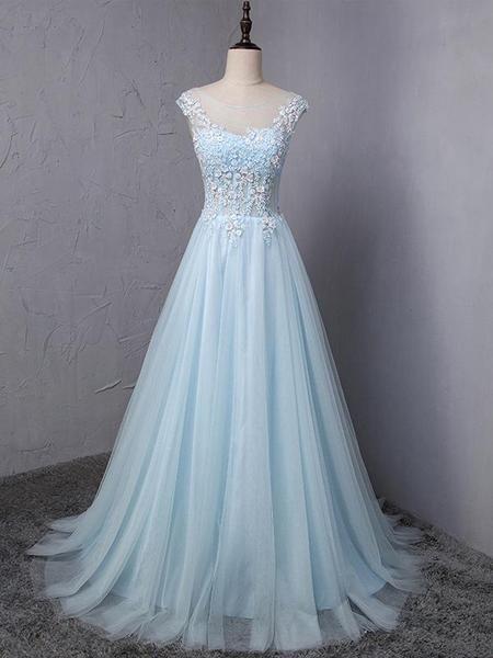 Light Blue Scoop Neckline Flower Embroidery A-Line Long Prom Dress, Beautiful Prom Dress, Prom Dresses, TYP0303 Light Blue Scoop Neckline Flower Embroidery A-Line Long Prom Dress, Beautiful Prom Dress, Prom Dresses, TYP0303 #bluepromdresses