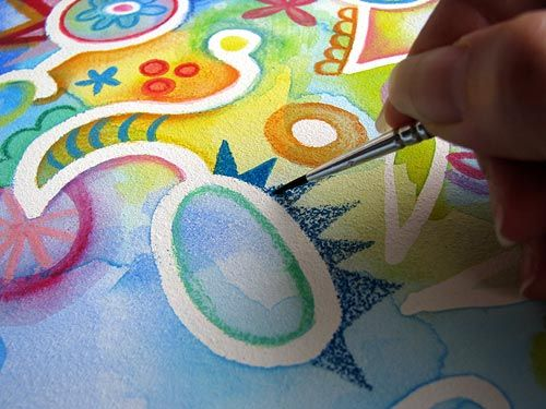 How To Use Watercolor Pencils And Masking Fluid To Create Abstract