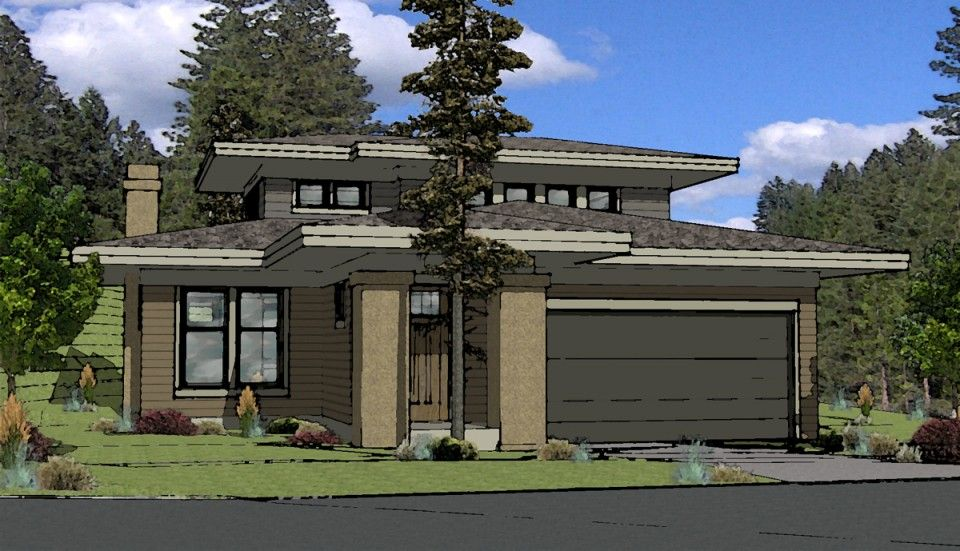 Prairie style house plan bend oregon home exteriors for Modern prairie style