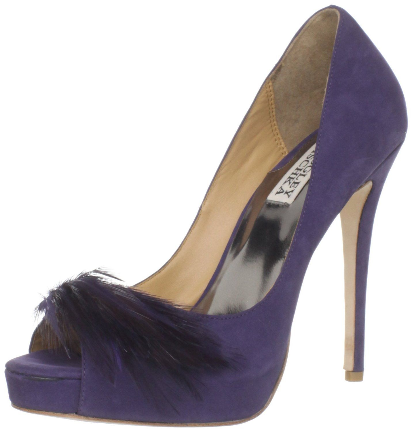 Badgley Mischka Purple wedding Shoes. Love the feather trim. Spectacular bridesmaid shoes, plus they are in white just right as bridal shoes. Comes in lots of colours www.finditforweddings.com