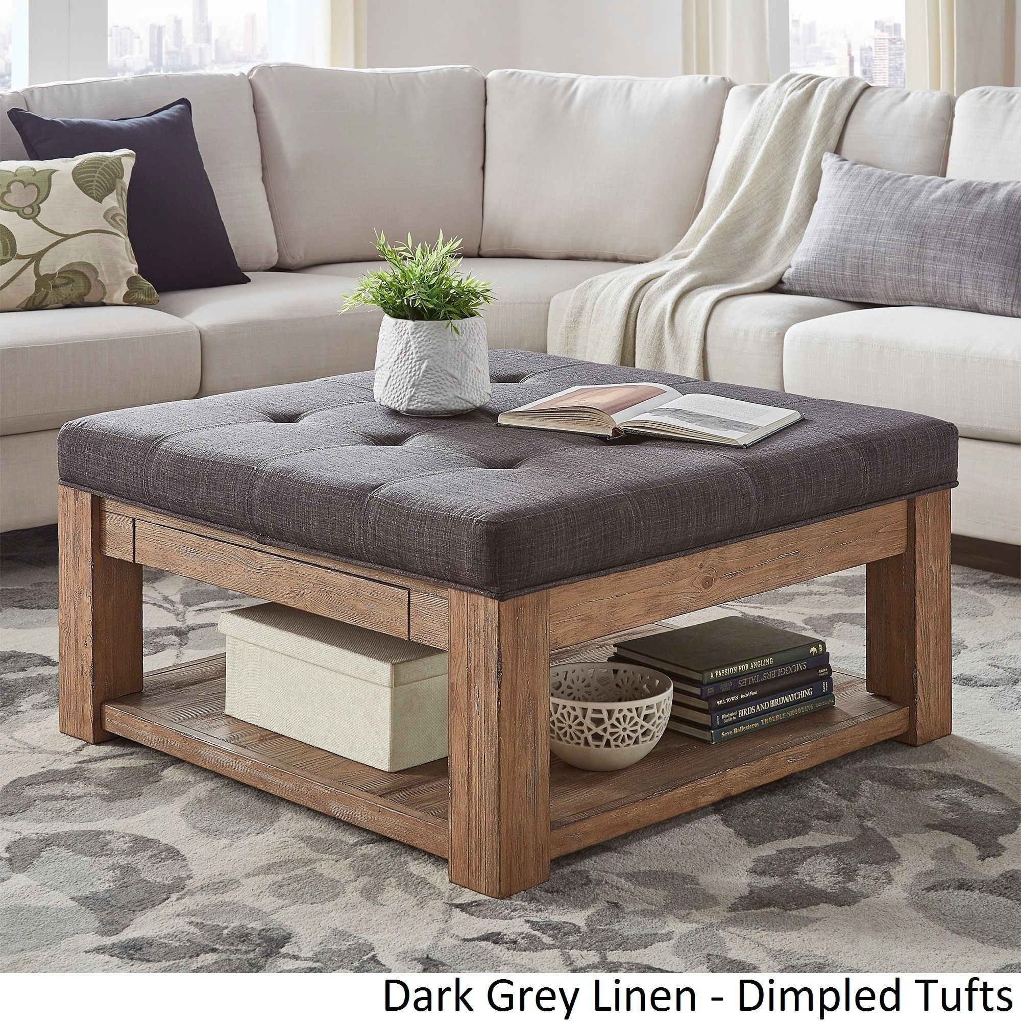 Lennon Pine Square Storage Ottoman Coffee Table by iNSPIRE Q Artisan ([Dark Grey Linen]- Dimpled Tufts) Black (Fabric) & Lennon Pine Square Storage Ottoman Coffee (Brown) Table by iNSPIRE Q ...