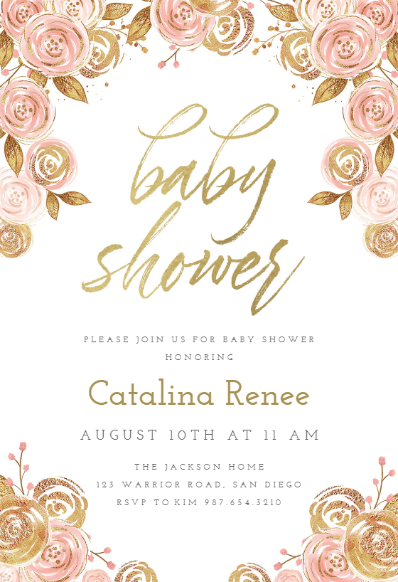 Pink And Gold Floral Baby Shower Invitation Template Greetings Island Pink Gold Baby Shower Invitation Gold Baby Shower Invitations Pink Invitations
