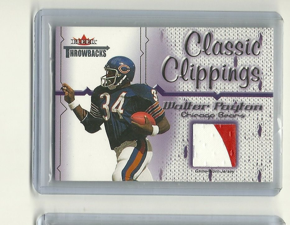 2002 walter payton 2color game used jersey patch card