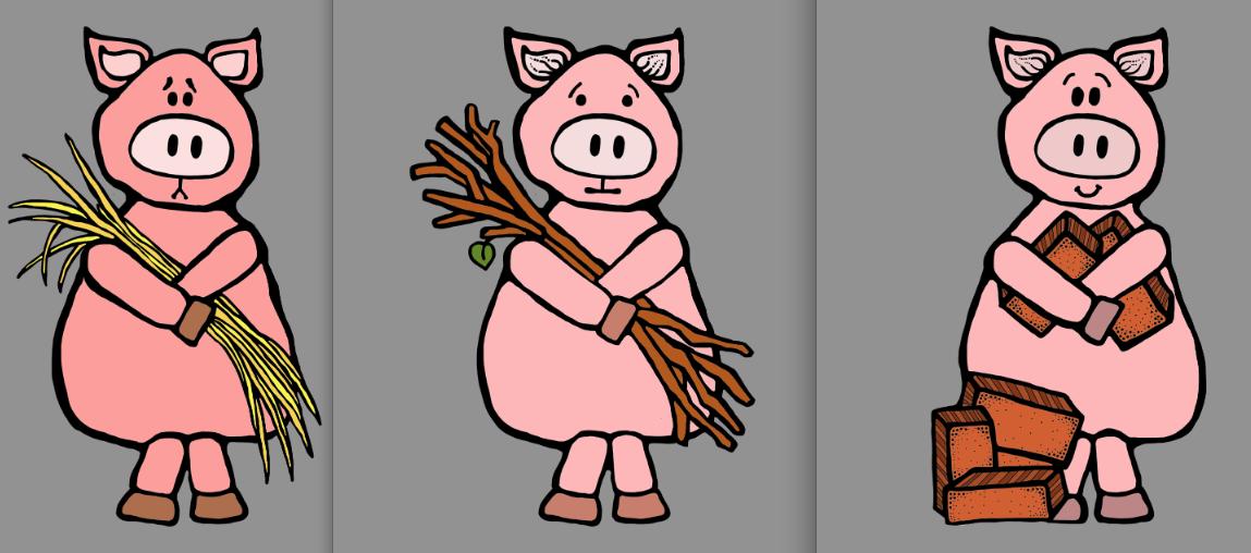 Three Little Pigs Clipart Nursery Mother Goose digital art   Etsy