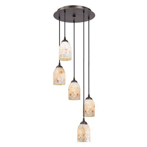 multi light pendant lighting. Bronze Multi-Light Pendant Light With Mosaic Glass Dome Shades At Destination Lighting Multi