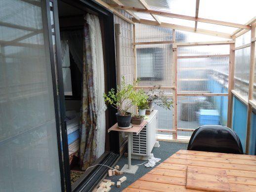 自作ベランダ屋根 囲い付き ベランダ 屋根 物置小屋の作り方 ベランダ