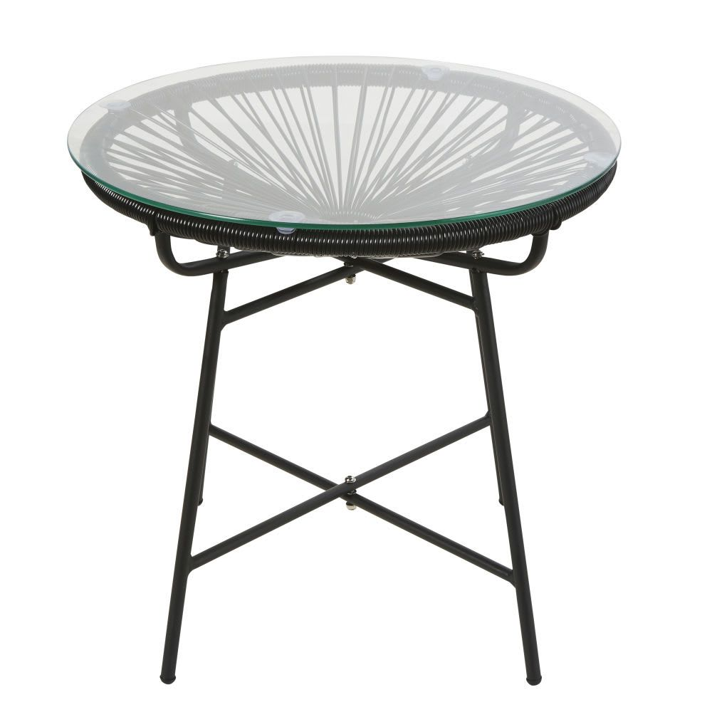 Laag Tuintafeltje Van Zwarte Hars En Glas Garden Coffee Table Garden Table Chairs Furniture