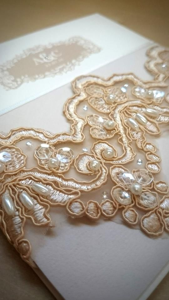 Luxury Gold Couture Wedding Invitation, Beaded Lace, Gold And Champagne,  Monogram Wedding,