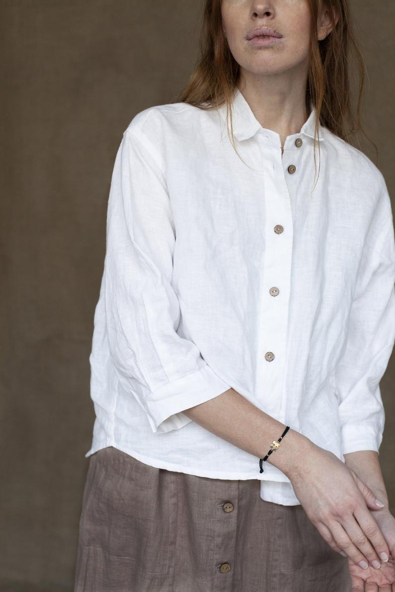 White Blouse Palina Oversized Linen Blouse Drop Shoulder Etsy Linen Shirt Outfit Linen Shirt Outfit Women Linen Blouse [ 1191 x 794 Pixel ]