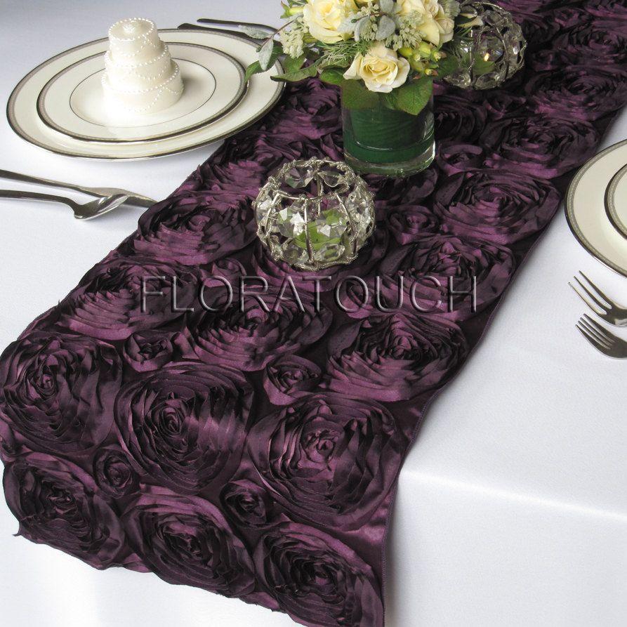 Delicieux Plum Satin Ribbon Rosette Table Runner Dark Purple Wedding Table Runner