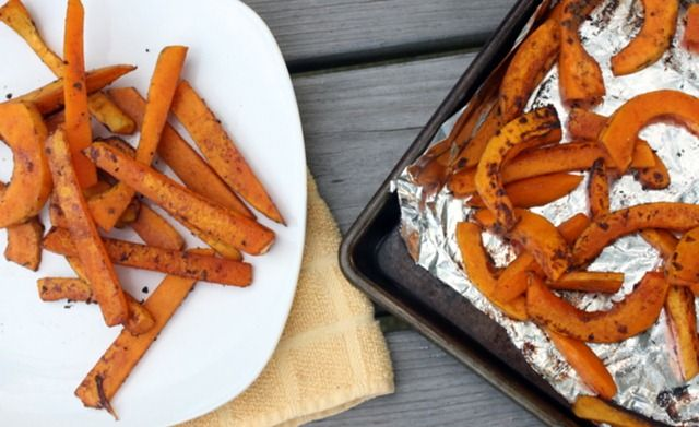 balsamic glazed butternut squash fries.  1 tbsp olive oil 1/4c balsamic vinegar 1t garlic powder 1/2t basil s&p to taste slice squash into fries, add mix. Shake to coat. Let marinade sit for 20 mins, place on lined cookie sheet. With your grill on a medium setting, cook for 25-30 minutes, flipping every so often to avoid burning.
