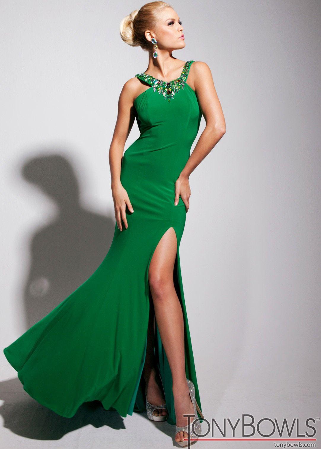 Tony bowls tbe emerald jeweled sleeveless prom dresses online