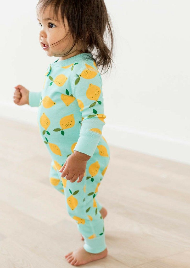 f5a4b15143a0cc Hanna Andersson Lemon Sleepers - cutest pjs ever | baby girl or boy  sleepers | toddler pajamas | ad