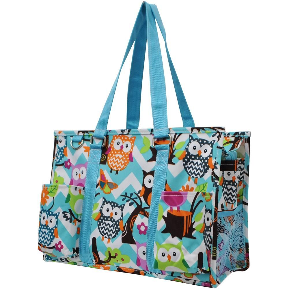 5fce64432b5b Owl Town™ Aqua Chevron Print Organizer Tote Bag-Aq | Tote Bags ...