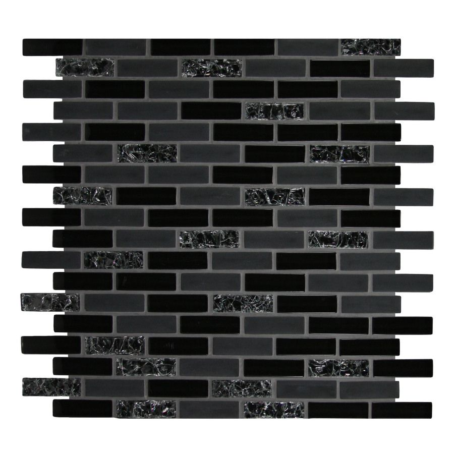 Shop Gbi Tile Amp Stone Inc Gemstone Black Glass Mosaic