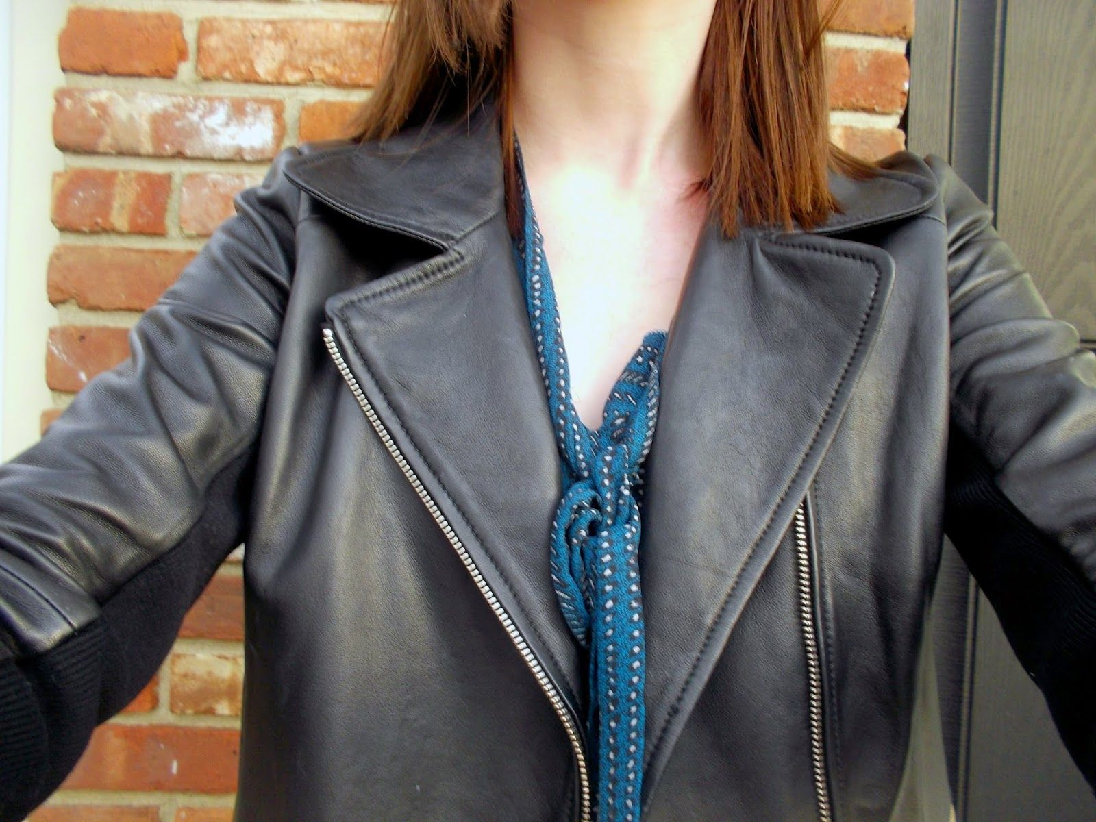 Leather Jacket Leather Jacket Jackets Bow Tie Blouse [ 1200 x 1600 Pixel ]