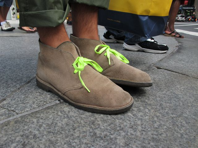 68425d5c0 Clarks Desert Boots w/ neon green laces. | fashion love | Boots ...