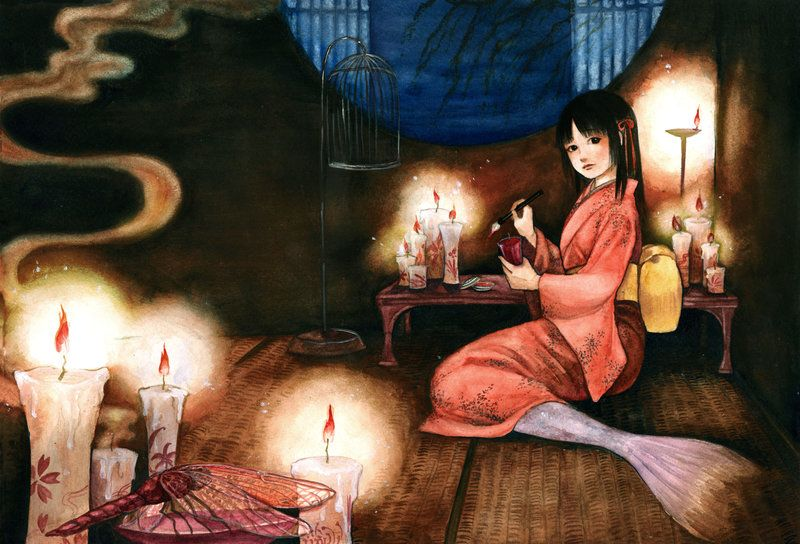 mermaid with red candle by jurithedreamer on DeviantArt