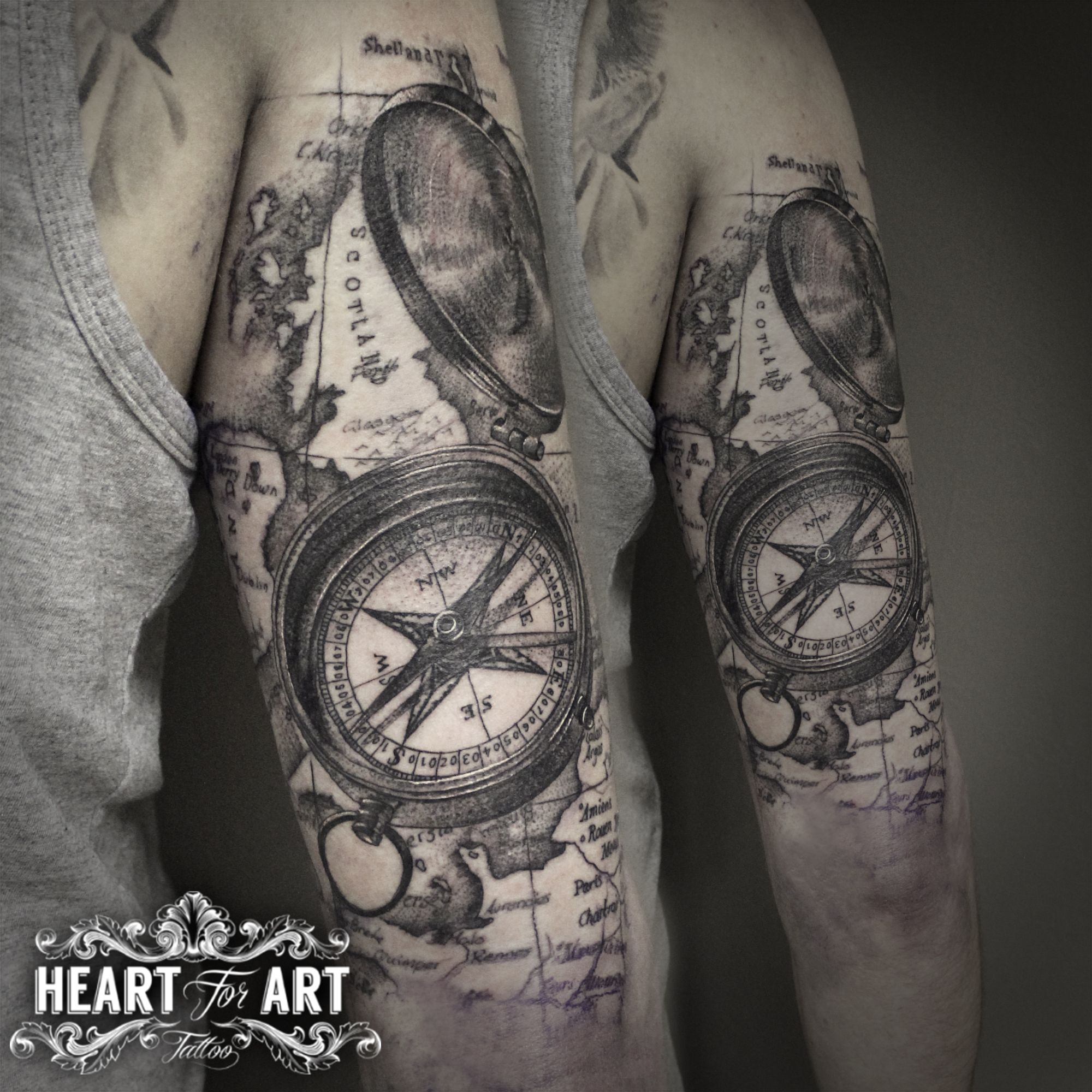 Dotwork map compass tattoo tattoo piercing happiness pinterest dotwork map compass tattoo gumiabroncs Image collections