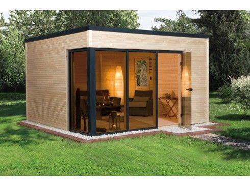 Bureau de jardin en bois avec mur de verre pour un design moderne