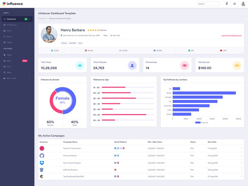 Influencer Profile Dashboard influencer