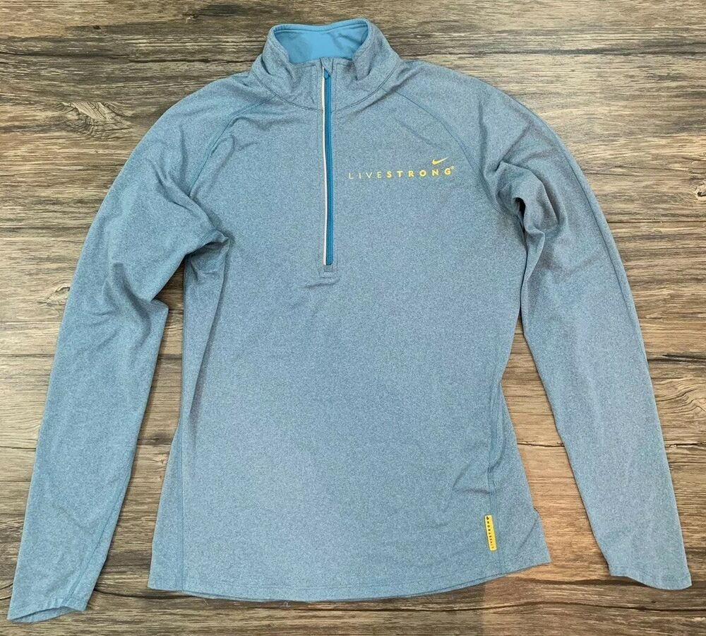 uk availability beaaf 95af8 Nike Dri Fit Livestrong Half Zip Pullover Mens Sz Medium 26Y ...