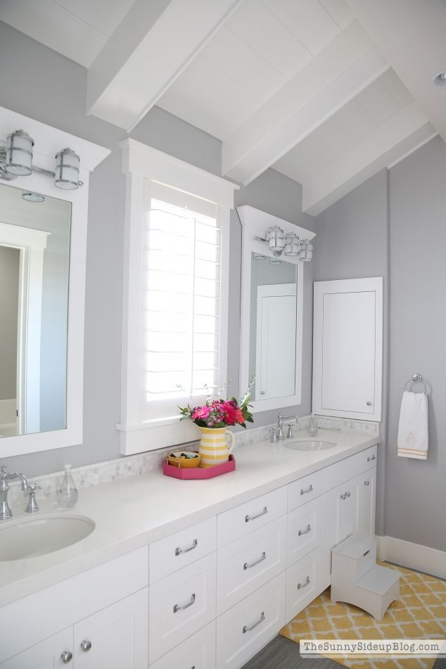 Girls Bathroom Decor Ceiling Girl Bathrooms And Bathroom Designs - Yellow and white bathroom rugs for bathroom decorating ideas