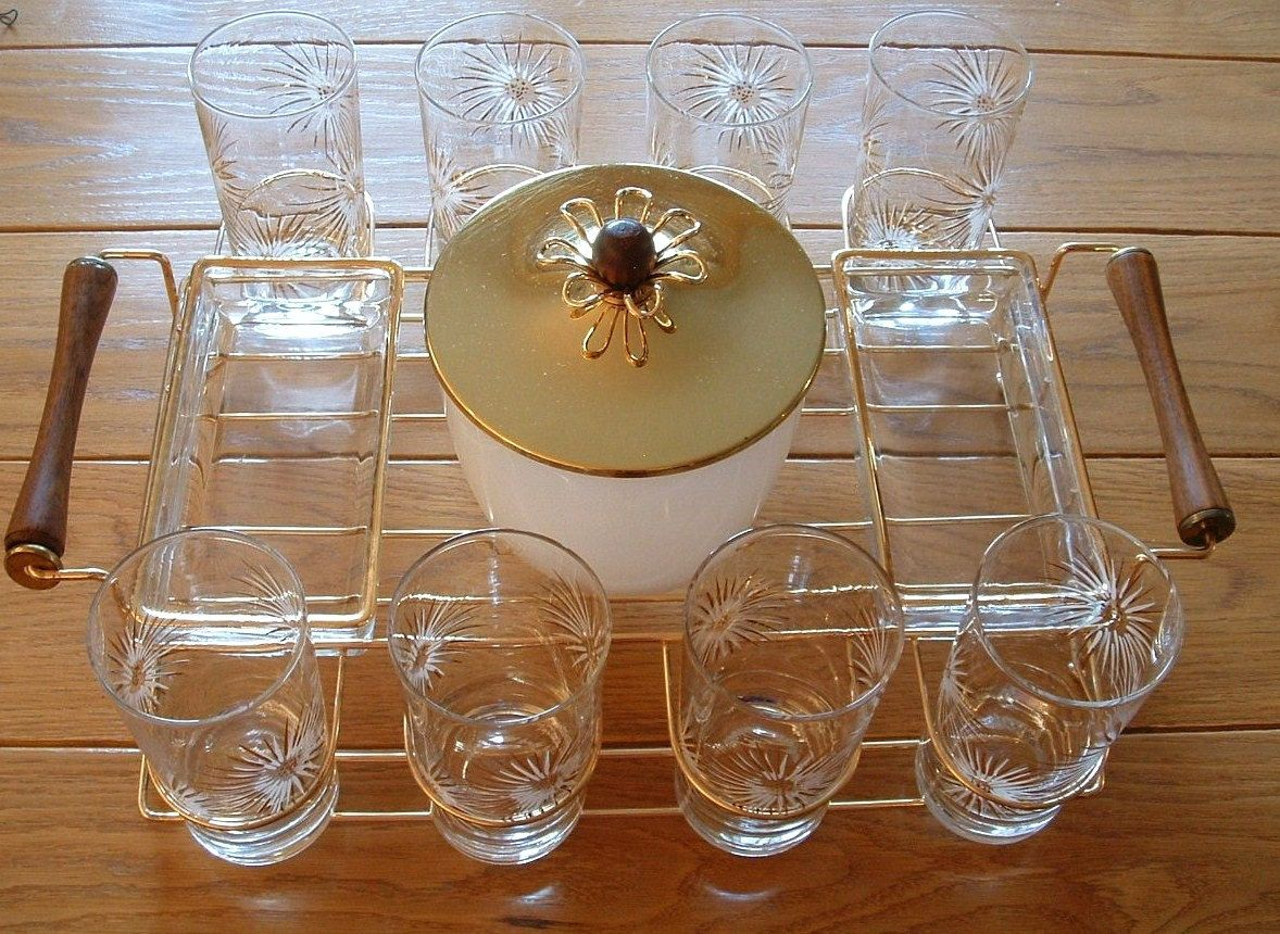 Vintage Barware Set Eight Highball Glasses Atomic Starburst, Ice Bucket,  Caddy / Carrier,