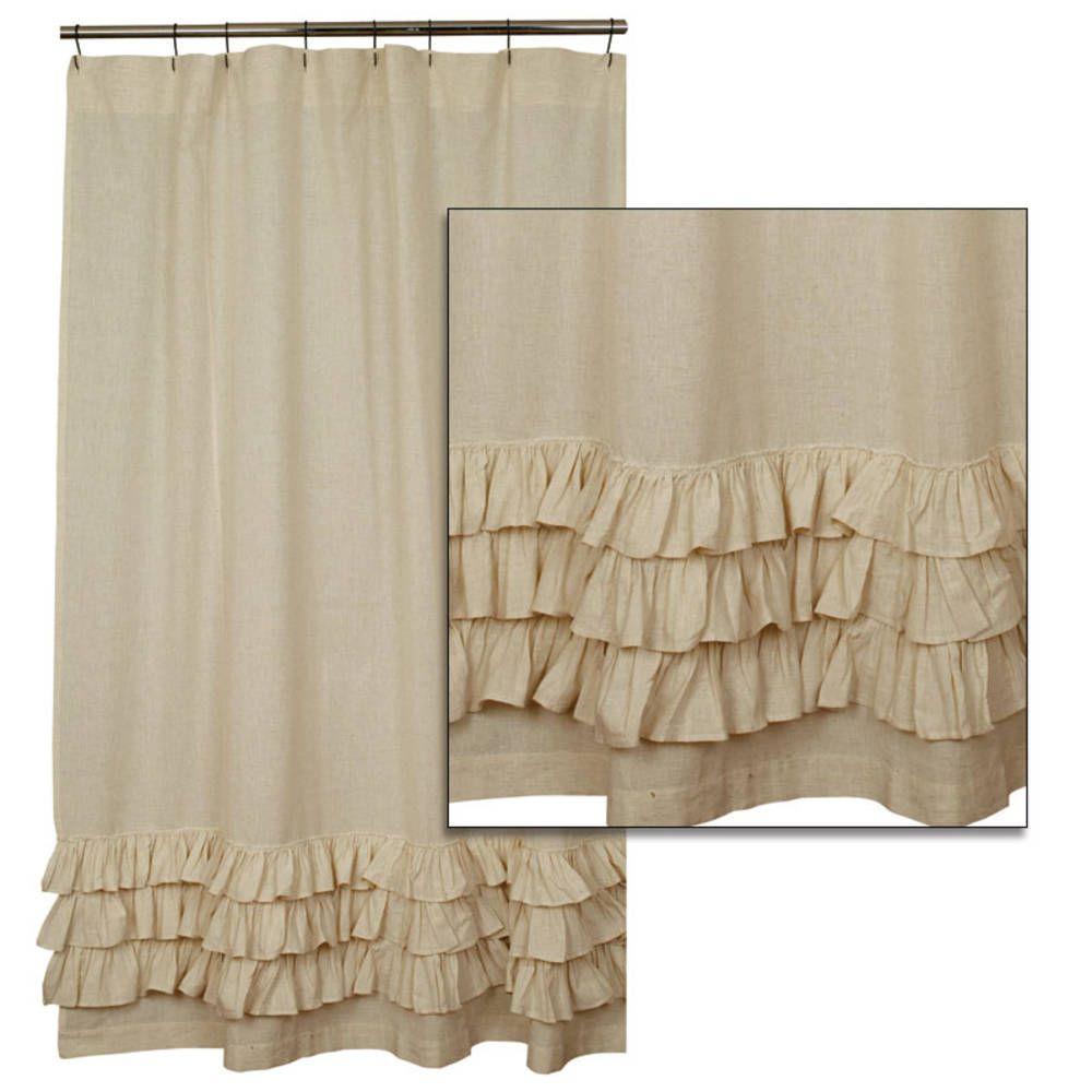 Country Bathroom Ruffled Flax Shower Curtain Ruffle Shower