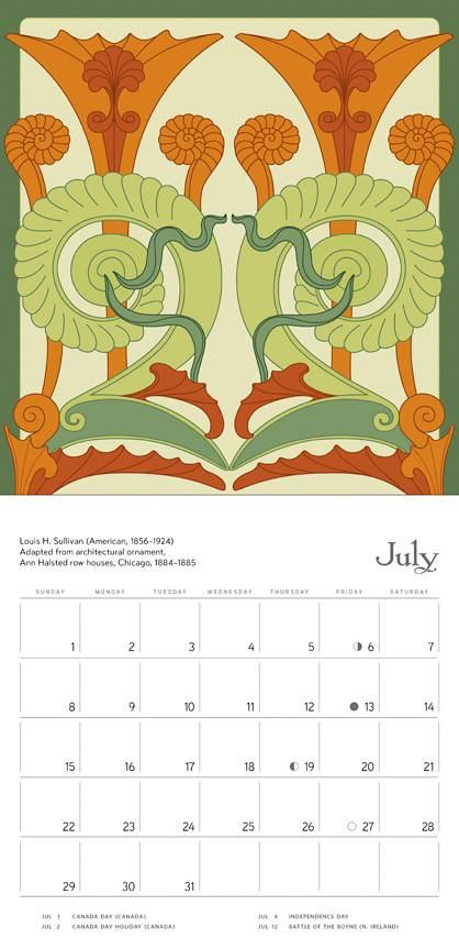 This calendar includes adaptations of architectural ornaments in some of American architect Louis Sullivan's most noted designs.