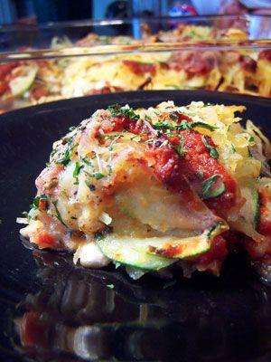 """Zucchini and Spaghetti Squash """"Lasagna"""", 100 Cal per serving (1/6 of whole)"""