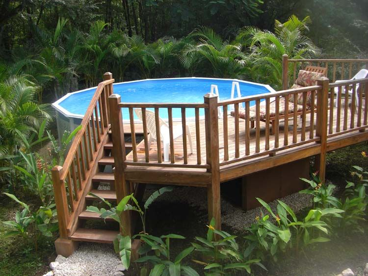 above ground swimming pool with gorgeous sunning deck. | for jason