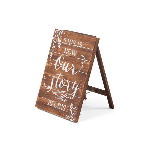 Word Signs Wall Decor Unique 24X18 Our Story Begins Wood Wall Sign $30 ❤ Liked On Polyvore Review